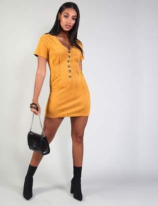 Public Desire Mustard Suedette Horn Button Mini Dress
