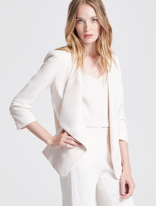 Halston Drape Front Crepe Suiting Jacket