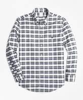 Brooks Brothers Non-Iron Regent Fit Grey Heather Plaid Sport Shirt