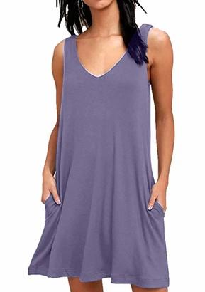 YMING Women's Casual T-Shirt Dress V Neck Sleeveless Summer Dress Sapphire Blue S