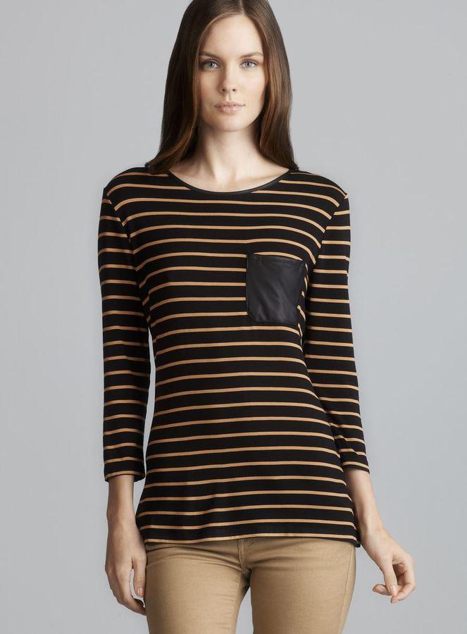 Romeo & Juliet Couture Back Zip Faux Leather Trim Stripe Top