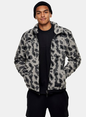 Topman Grey Animal Print Borg Jacket