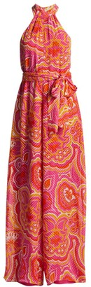 Trina Turk Thea Scarf-Print Halter Tie-Waist Jumpsuit