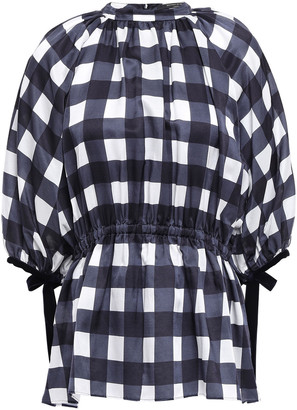 Mother of Pearl Velvet-trimmed Checked Cotton And Silk-blend Satin Top