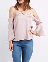 Charlotte Russe Strappy Bell Sleeve Cold Shoulder Top