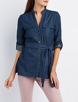 Charlotte Russe Belted Chambray Tunic Top