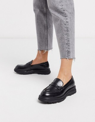 Asos Design DESIGN Mono chunky leather loafers in black