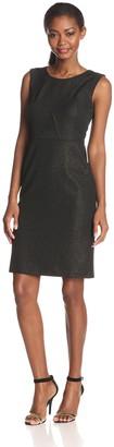 Nine West Women's Sleeveless Scoop Neck Sheath Dress Black/Gold 12