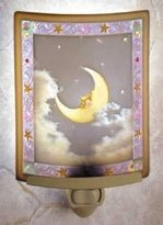 Porcelain Garden Man in the Moon Colored Lithophane Night Light