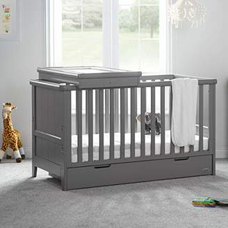 O Baby Obaby Belton Cot Bed and Multi Top Changer - Taupe grey