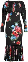 Dolce & Gabbana Rose-print stretch-silk charmeuse dress
