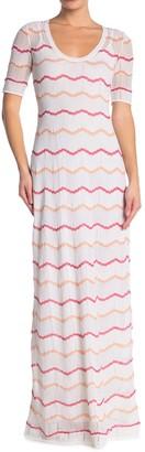 M Missoni Chevron Striped Short Sleeve Maxi Dress