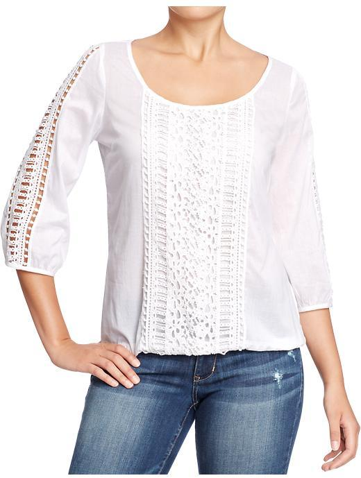 Old Navy Women's 3/4-Sleeve Crocheted Blouse