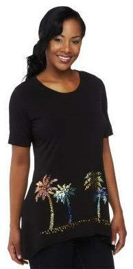 Factory Quacker Luau Sparkle Trapeze Hem Short Sleeve Knit T-shirt