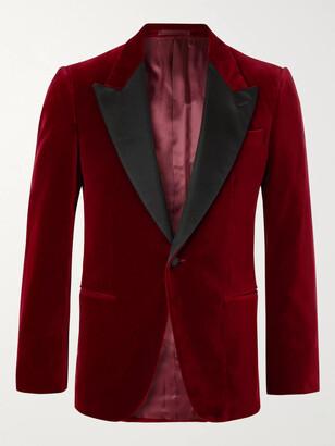 Kingsman Slim-Fit Satin-Trimmed Cotton-Velvet Tuxedo Jacket