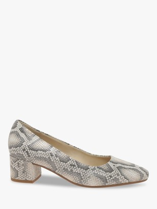 Gabor Delia Wide Fit Snakeskin Leather Court Shoes, Neutral