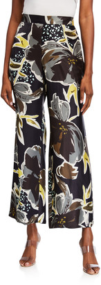 Lafayette 148 New York Riverside Poppy Print Sheen Cloth Ankle Pants