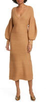 STAUD Carnation Long Sleeve Midi Sweater Dress