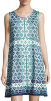 Max Studio Tile-Print Trapeze Dress, Blue Pattern