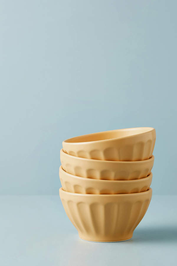 Matte Latte Bowls, Set of 4 By Anthropologie in Yellow Size S/4 bowl