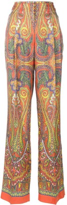 Etro Mixed Print Wide-Leg Trousers