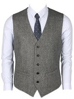 Ruth&Boaz 2Pockets 5Buttons Wool Herringbone / Tweed Business Suit Vest (L, )