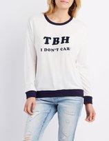 Charlotte Russe Brushed Ringer Graphic Sweatshirt