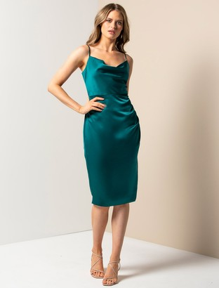 Forever New Laura Petite Satin Cowl-Neck Ruched Midi Dress - Emerald Green - 10