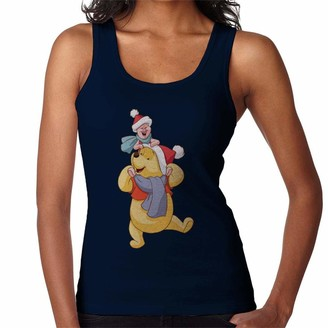 Disney Christmas Hats Winnie The Pooh and Piglet Women's Vest Navy Blue