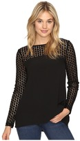 Kensie Smooth Stretch Crepe Top with Lace Detail KSNK4240