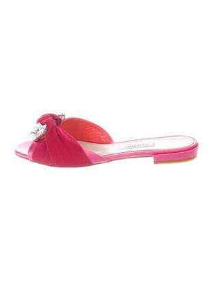 Miu Miu Raso 3 Crystal Embellishments Slides Pink