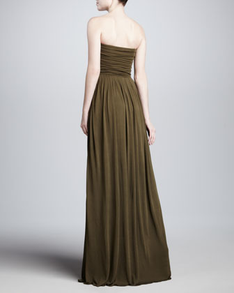 Michael Kors Strapless Sweetheart Gown, Olive