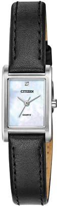 Citizen Women Quartz Black Leather Strap Watch 18x22mm