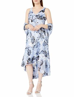 Alex Evenings Women's Petite Tea Length Printed Chiffon Dress with Shawl
