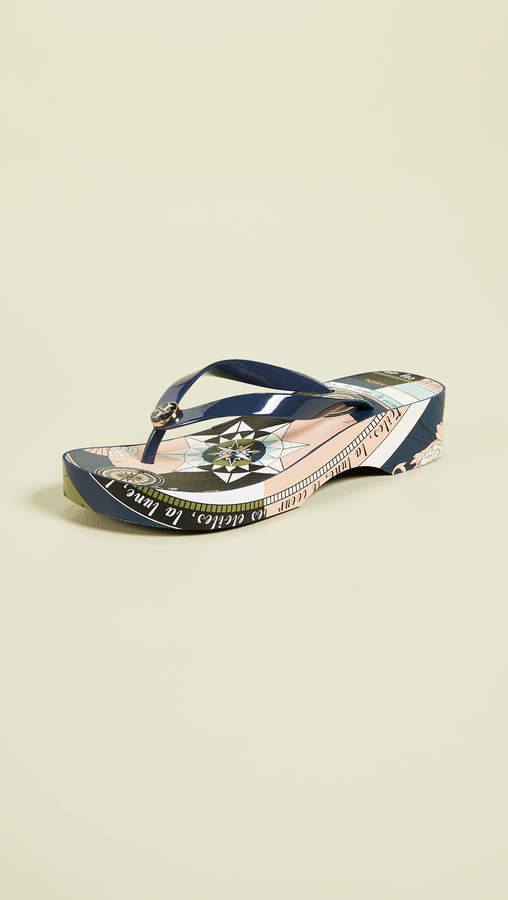 f43fe25805a2 Tory Burch Wedge Flip Flops - ShopStyle