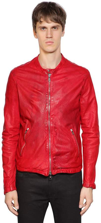 Giorgio Brato Zip-Up Nappa Leather Moto Jacket