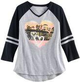 Mudd Girls 7-16 & Plus Size 3/4-Sleeve High-Low Hem Graphic Tee