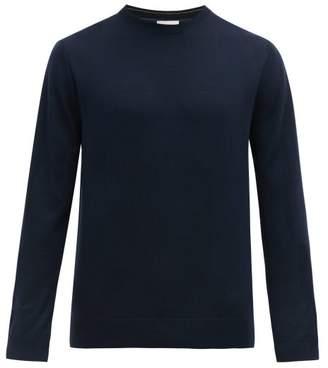 Paul Smith Logo Embroidered Merino Wool Sweater - Mens - Navy