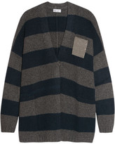Brunello Cucinelli Embellished Striped Cashmere Cardigan - Gray