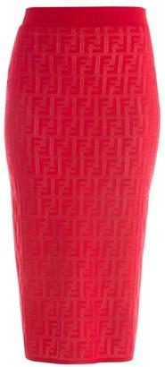 Fendi FF Jacquard Logo Knit Midi Skirt
