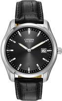Citizen Eco-Drive Mens Black Leather Watch AU1040-08E