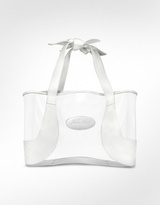 Invisibile - PVC and White Leather Large Tote Bag