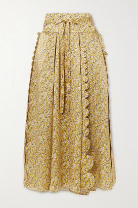 Horror Vacui Sophie Scalloped Floral-print Silk-satin Midi Skirt - Saffron