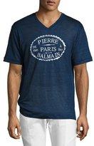 Pierre Balmain Linen V-Neck Logo T-Shirt, Blue