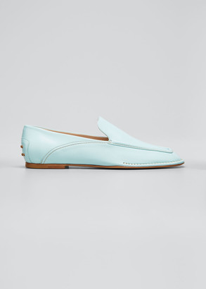 Tod's Square-Toe Leather Mocassino Loafers