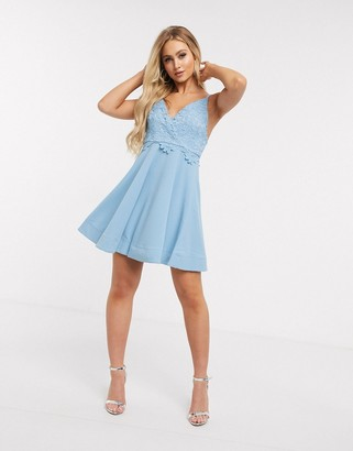 Girl In Mind lace top skater dress in light blue