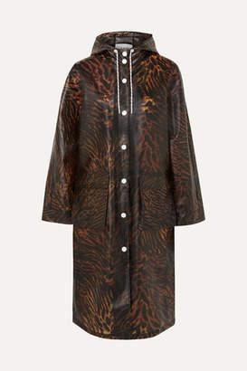 Ganni Tiger-print Matte-tpu Raincoat - Brown
