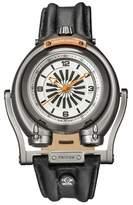 GV2 Gv2 Triton Ip Gun Case White/orange Dial With Black Indexes Black Leather Strap Gv2 Watch.