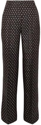 Markus Lupfer Cameron Printed Silk-twill Wide-leg Pants