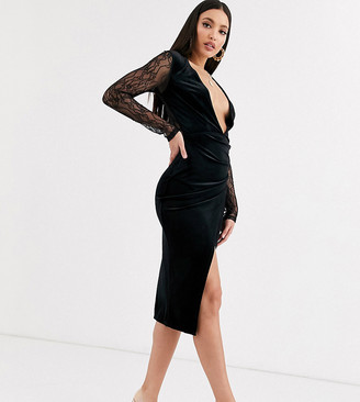 Asos Tall DESIGN Tall long lace sleeve plunge velvet wrap midi dress